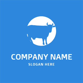 White Circle and Blue Cow logo design