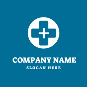 White Circle and Blue Cross logo design