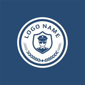 White Circle and Blue Police logo design