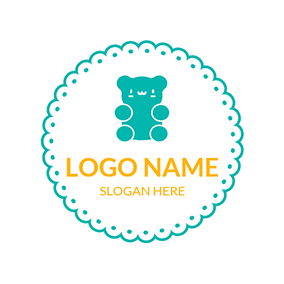 White Circle and Green Bear logo design