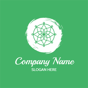 White Circle and Green Lotus logo design