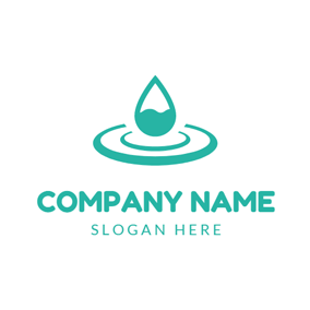 White Circle and Green Water Drop logo design