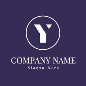 White Circle and Letter Y logo design