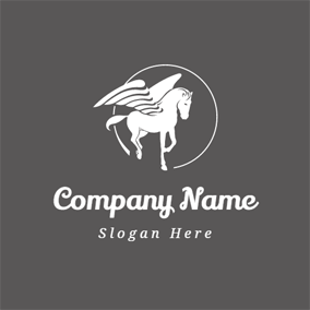 White Circle and Pegasus logo design