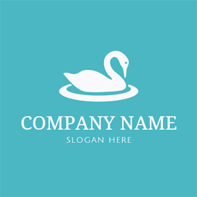 White Circle and Swan Outline logo design