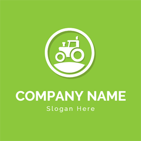 White Circle and Tractor Icon logo design