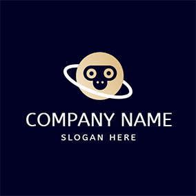 White Circle and Yellow Monkey logo design