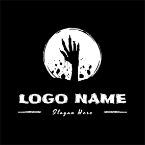 White Circle and Zombie Hand logo design