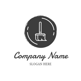 White Cleaning Broom logo design