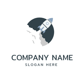 White Cloud and Rocket Icon logo design