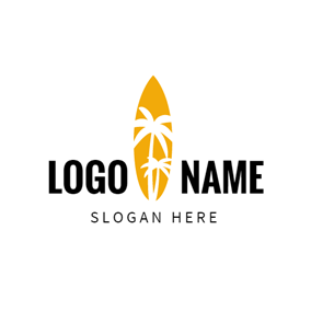 White Coconut Palm and Yellow Surfboard logo design