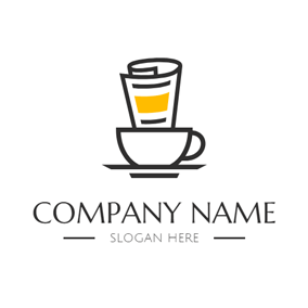 White Coffee Cup and Black Newspaper logo design