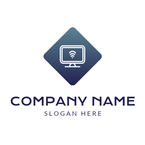White Computer and Black Square logo design