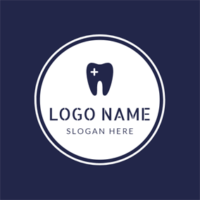 White Cross and Dark Blue Teeth logo design