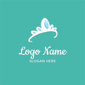 White Crown and Jewel logo design
