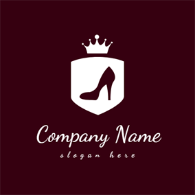 White Crown and Maroon Shoe logo design