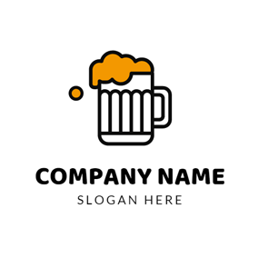 White Cup and Yellow Beer logo design