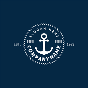 White Decoration and Anchor logo design