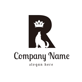 White Dog and Black Letter R logo design