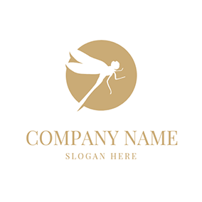 White Dragonfly and Circle logo design