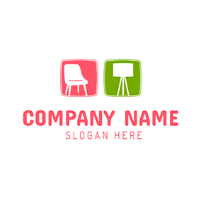 White Drawing Board and Chair logo design