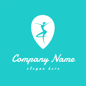 White Drop and Blue Dancer logo design