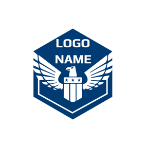 White Eagle and Blue Police Shield logo design