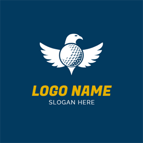 White Eagle and Golf Ball logo design