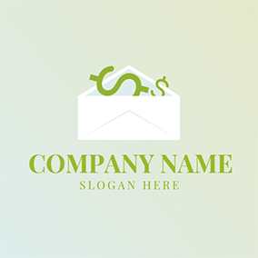 White Envelope and Dollar Sign logo design