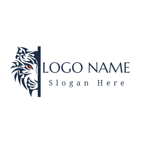 White Face and Red Eye logo design