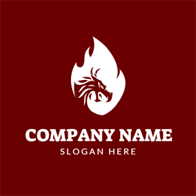White Fire and Red Dragon logo design
