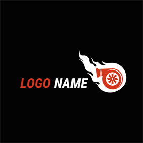 White Fire and Red Turbo logo design