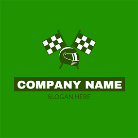 White Flag and Green Helmet logo design