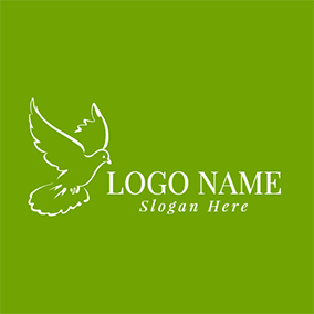 White Flying Dove Icon logo design