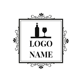 White Frame and Black Wine Glass logo design