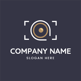 White Frame and Camera Lens logo design