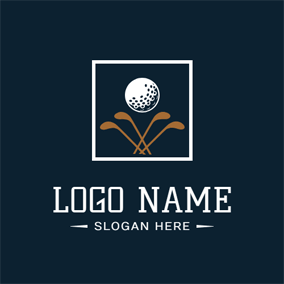White Frame and Golf Ball logo design