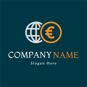 White Globe and Euro Coin logo design