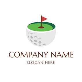 White Golf Ball and Green Golf Course logo design