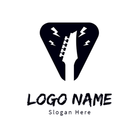 White Guitar and Strong Rhythm logo design