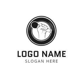 White Hand and Black Microphone logo design