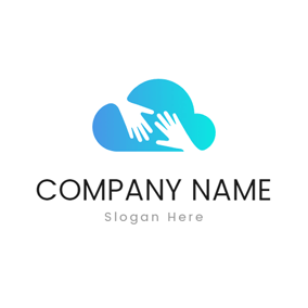 White Hand and Green Cloud logo design