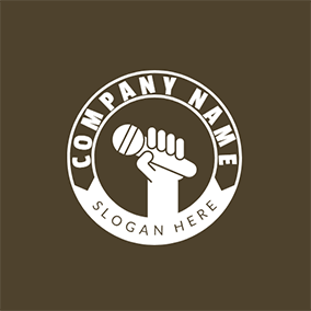 White Hand and Microphone Icon logo design