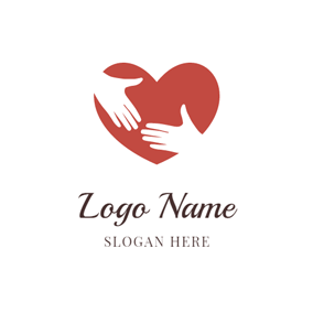 White Hand and Red Heart logo design