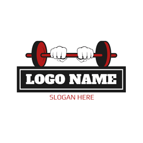 White Hand and Red Weightlifting Barbell logo design