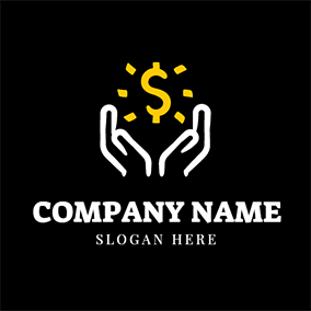 White Hand and Shining Dollar Sign logo design