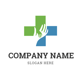 White Hand and Simple Cross logo design