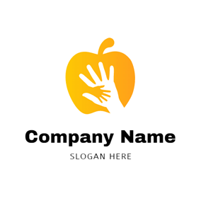 White Hand and Yellow Apple logo design