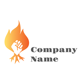 White Hand and Yellow Fire Flame logo design