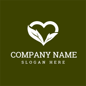 White Heart and Leaf logo design